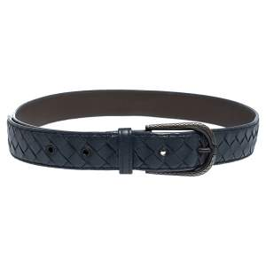 Bottega Veneta Blue Intrecciato Leather Buckle Belt 85CM