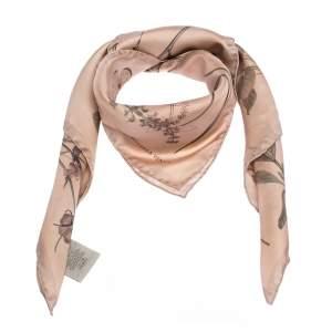 Bottega Veneta Pale Pink Botanic Silk Twill Square Scarf