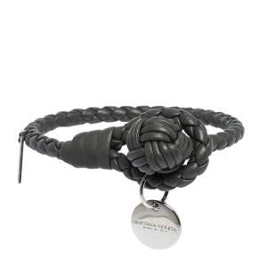 Bottega Veneta Grey Intrecciato Nappa Leather Knot Bracelet S