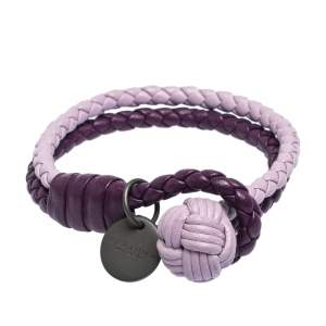 Bottega Veneta Bicolor Intrecciato Nappa Leather Knot Bracelet S