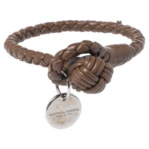Bottega Veneta Brown Intrecciato Nappa Leather Toggle Bracelet S