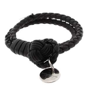 Bottega Veneta Black Intrecciato Nappa Leather Double Strand Bracelet S