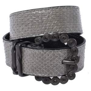Bottega Veneta Grey Snakeskin Double Wrap Bracelet S