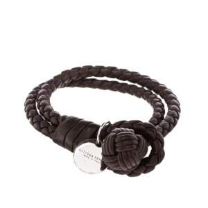 Bottega Veneta Intrecciato Nappa Brown Leather Double Strand Bracelet