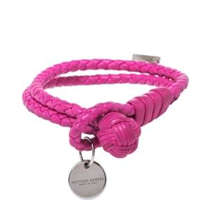 Bottega Veneta Intrecciato Nappa Fuchsia Leather Double Strand Bracelet