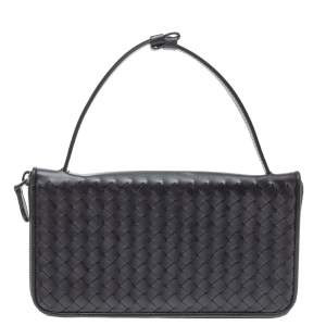 Bottega Veneta Black Intrecciato Leather Zippy Travel Organizer