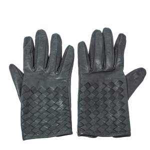 Bottega Veneta Grey Intreciatto Leather Gloves Size S