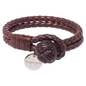 Bottega Veneta Burgundy Intrecciato Double Strand Bracelet