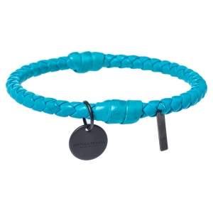 Bottega Veneta Blue Intrecciato Woven Leather Bangle Bracelet S