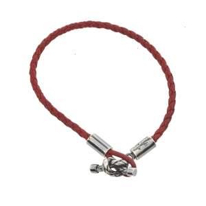 Bottega Veneta Red Intrecciato Leather Silver Knot Bracelet S