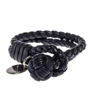 Bottega Veneta Black Intrecciato Leather Double Strand Bracelet