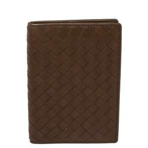 Bottega Veneta Brown Intrecciato Leather Passport Holder