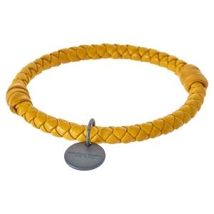 Bottega Veneta Yellow Intrecciato Leather Bangle Bracelet