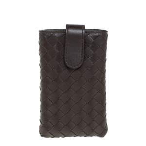 Bottega Veneta Brown Intrecciato Leather Phone Case