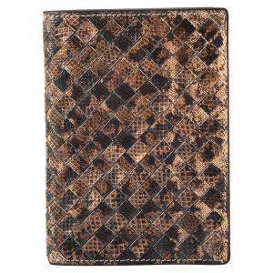 Bottega Veneta Brown Python Passport Holder