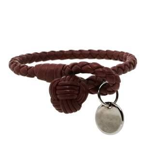 Bottega Veneta Pale Brown Intrecciato Nappa Leather Knot Bracelet S