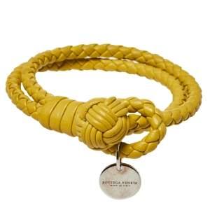 سوار بوتيغا فينيتا حبل مزدوج جلد نابا أنترشياتو أصفر مقاس وسط (ميديوم)