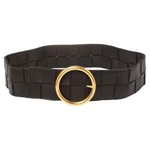Bottega Veneta Dark Brown Maxi Intrecciato Leather Waist Belt 85 CM