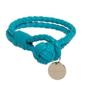 Bottega Veneta Blue Intrecciato Nappa Leather Knot Bracelet S