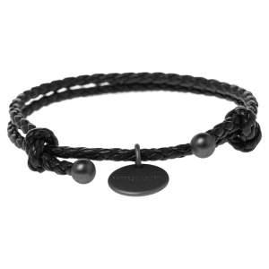 Bottega Veneta Black Intrecciato Leather Adjustable Bracelet