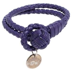 Bottega Veneta Intrecciato Purple Leather Loop Bracelet