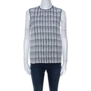 Bottega Veneta Black White and Blue Geometric Printed Silk Sleeveless Top S