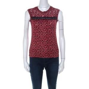 Bottega Veneta Red Microsquare Printed Cotton and Lace Yoke Sleeveless Top S
