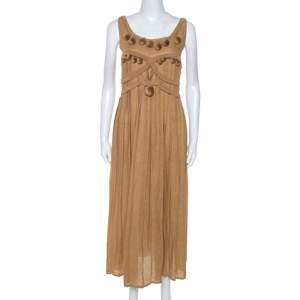 Bottega Veneta Camel Beige Linen Pom Pom Detail Pleated Dress L