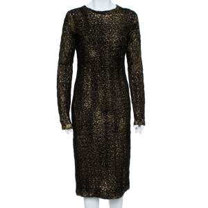 Bottega Veneta Black Foil Print Wool Midi Sheath Dress M