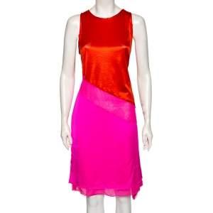 Bottega Veneta Pink & Orange Silk Asymmetrical Mesh Inset Short Dress M