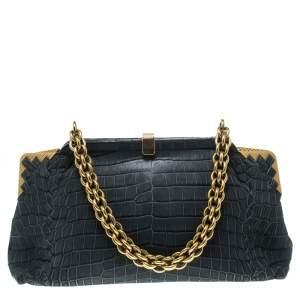 Bottega Veneta Grey Crocodile Vendome Shoulder Bag