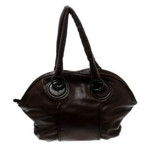 حقيبة بوتيغا فينيتا جلد بنية