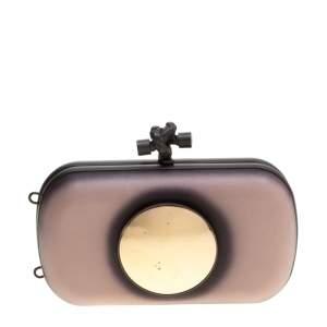 Bottega Veneta Black/Light Beige Leather Sphere Palazzo Knot Clutch