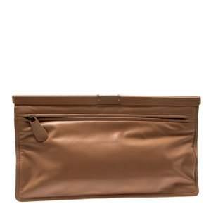 Bottega Veneta Beige Leather Oversized Clutch