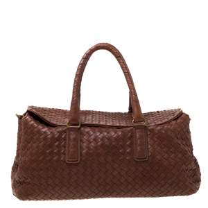 Bottega Veneta Brown Leather Intrecciato Montaigne Satchel