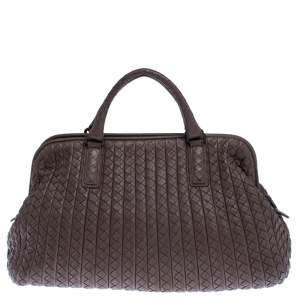 Bottega Veneta Brown Intrecciato Leather Satchel
