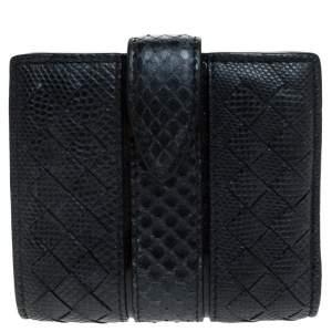 Bottega Veneta Navy Blue Intrecciato Leather Compact Wallet