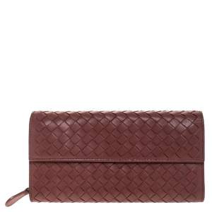 Bottega Veneta Maroon Intrecciato Leather Continental Flap Wallet