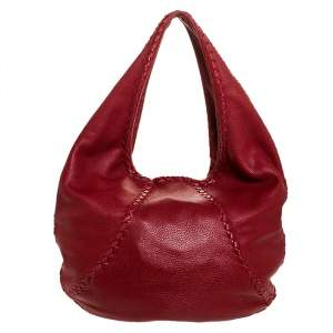 Bottega Veneta Red Cervo Leather Large Baseball Hobo