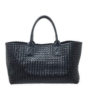 Bottega Veneta Black Intrecciato Leather Medium Cabat Tote