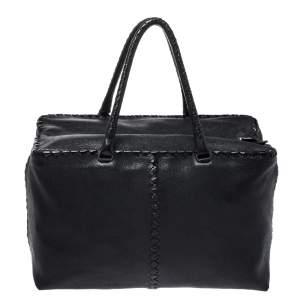 Bottega Veneta Black Intrecciato Trim Leather Tote