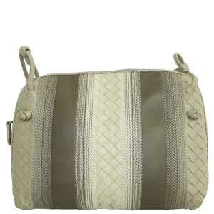 Bottega Veneta Gray Intercciato Leather Crossbody Bag