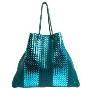 Bottega Veneta Blue/Metallic Intrecciato Leather Croisette Shoulder Bag