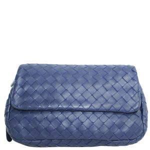 Bottega Veneta Blue Mini Intrecciato Leather Chain Crossbody Bag