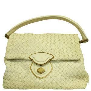 Bottega Veneta Pastel Yellow Ostrich Intrecciato Leather Satchel Bag