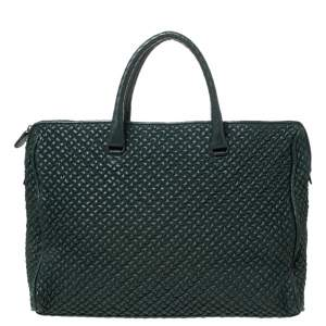 Bottega Veneta Dark Green Bubble Quilted Leather Zip Satchel