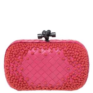 Bottega Veneta Pink Embroidered Woven Leather Knot Clutch