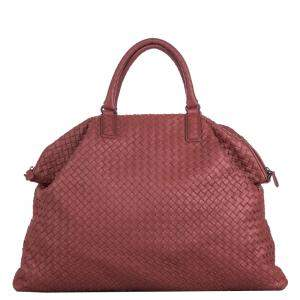 Bottega Veneta Red Maxi Intrecciato Leather Convertible Travel Bag