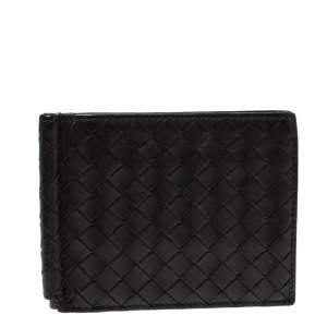 Bottega Veneta Brown Intrecciato Leather Money Clip Bifold Wallet