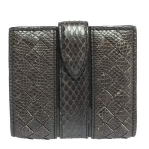 Bottega Veneta Green Snakeskin Flap French Wallet